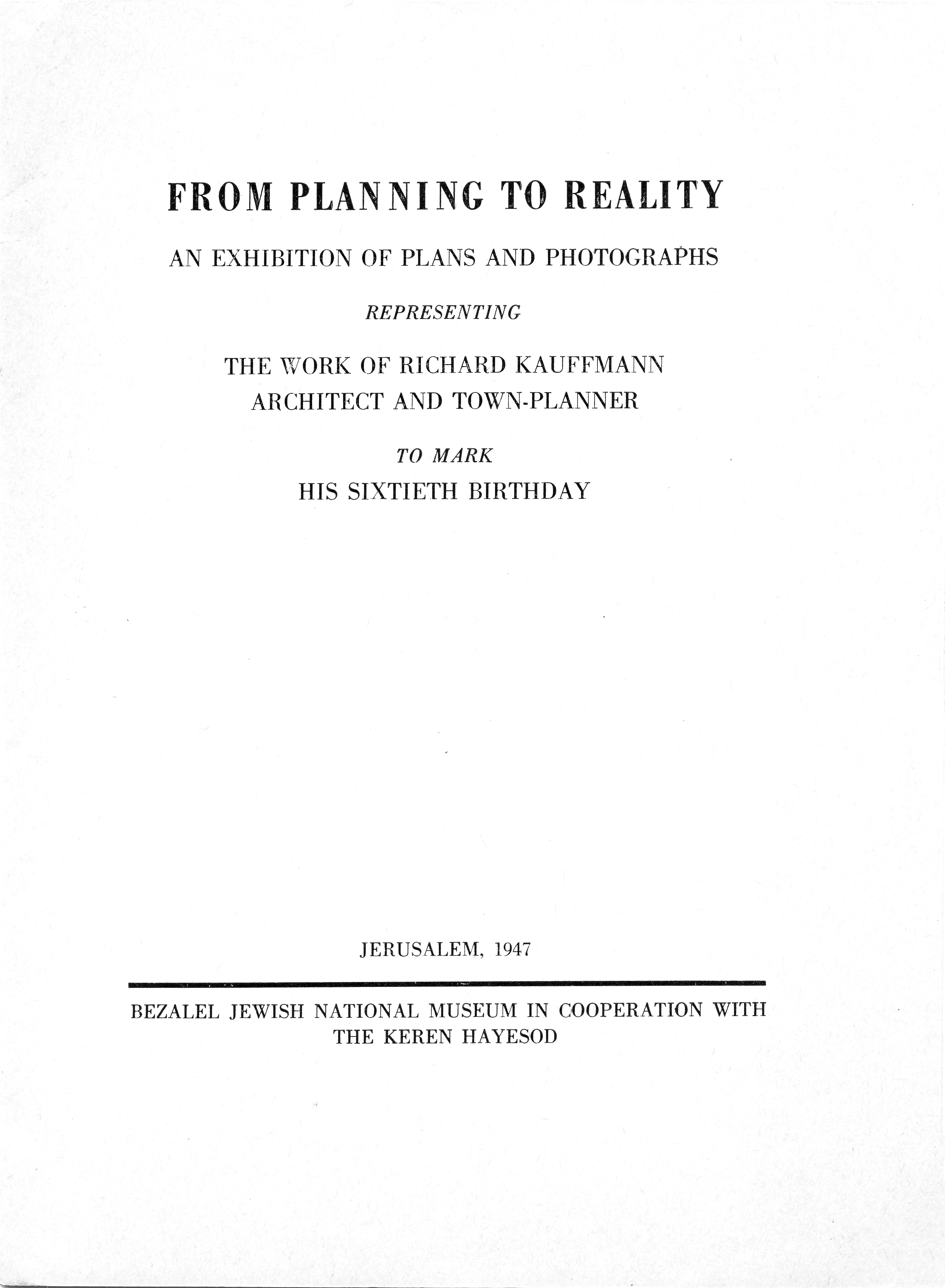 "Cover of Pamphlet for ""From Planning to Reality"" Exhibition"